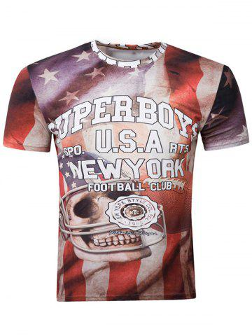 Shops 3D Skull Graphic Print American Flag Distressed T-Shirt COLORMIX 2XL