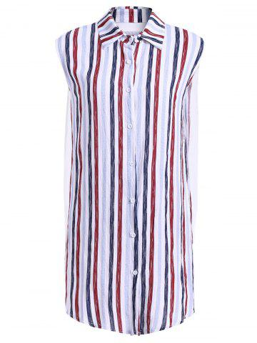 Sale Fashionable Shirt Collar Sleeveless Striped Dress For Women