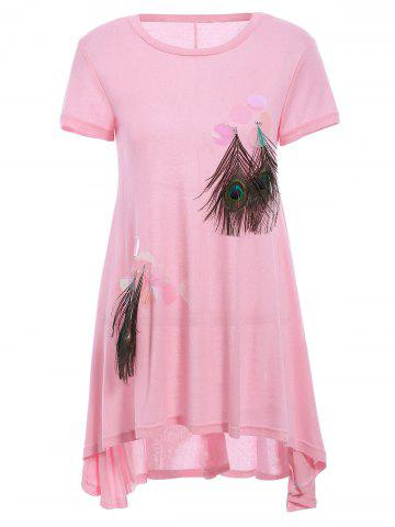 Store Trendy Short Sleeve Peacock Feather Embellish High Low Women's Dress