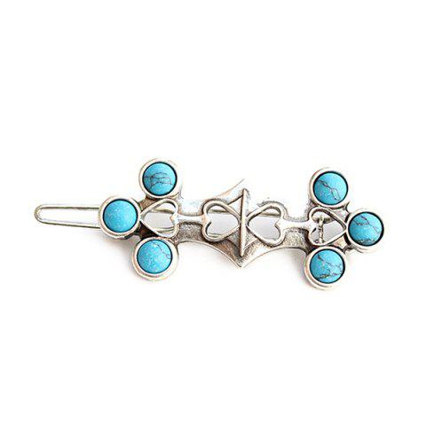 Latest Vintage Faux Turquoise Heart Hairpin For Women