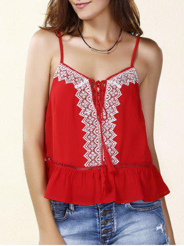 Chic Spaghetti Strap Embroidered Lace- Up Tank Top For Women - Red - S