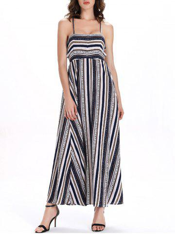Outfit Bohemian Backless Stripe  Lace-Up Dress