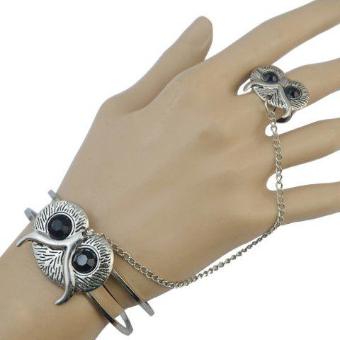Online Vintage Faux Gem Embossed Owl Bracelet with Ring