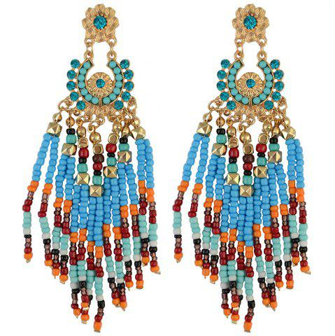 Affordable Pair of Flower Rhinestone Bead Tassel Earrings