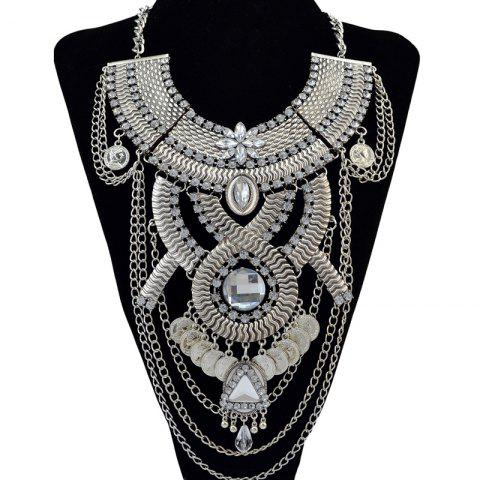 Outfit Retro Faux Crystal Rhinestone Coin Geometric Necklace