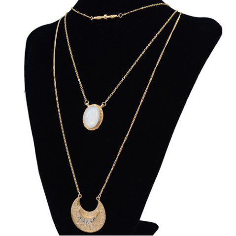 Stylish Faux Gem Multilayer Chain Moon Necklace For Women от Rosegal.com INT