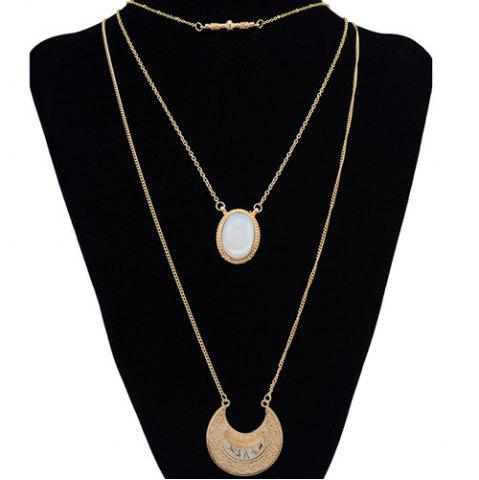 Chic Retro Faux Gem Multilayer Chain Moon Necklace