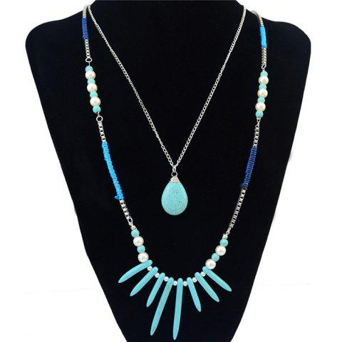 Discount Bohemia Multilayer Faux Turquoise Pearl Water Drop Necklace