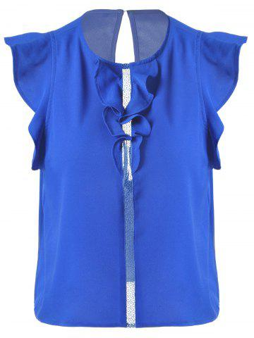 Affordable Sweet Slimming Scoop Neck Flounce Blouse For Women SAPPHIRE BLUE S