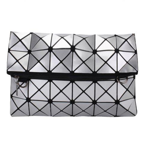 Fancy Stylish Checked and Zip Design Clutch Bag For Women
