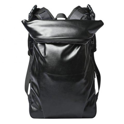 New Casual Black Color and PU Leather Design Backpack For Men