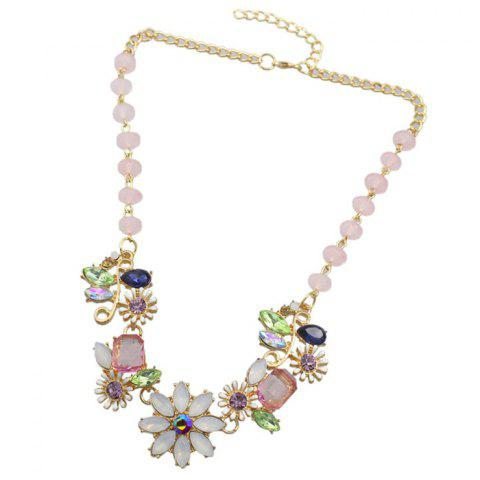 Coloful Rhinestoned Flowers Pendants Necklace - Colormix - 85c