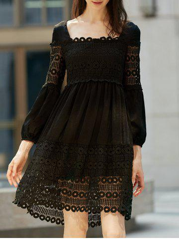 Trendy Lace Panel Long Sleeve Smock Casual Dress BLACK XL