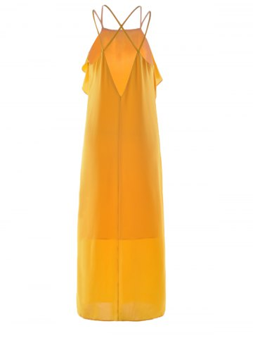 Affordable Women's Stylish Cut Out Spaghetti Strap Pure Color Dress - S GINGER Mobile