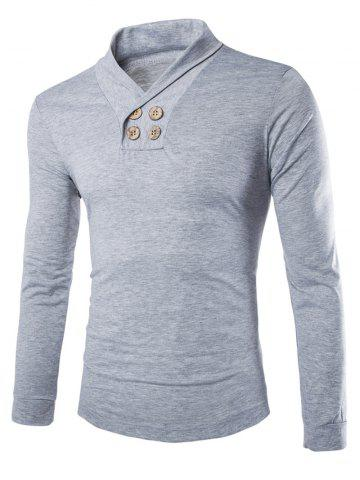 Online Trendy Slimming Turndown Collar Solid Color Button Design Long Sleeve Polyester T-Shirt For Men LIGHT GRAY 2XL