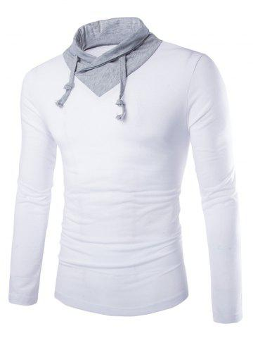 Outfits Stylish Slimming Turndown Collar Two Color Splicing Drawstring Long Sleeve Polyester T-Shirt For Men WHITE M