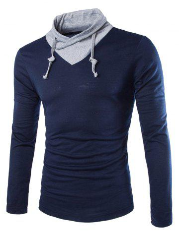 Stylish Slimming Turndown Collar Two Color Splicing Drawstring Long Sleeve Polyester T-Shirt For Men - CADETBLUE M