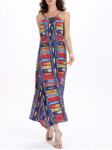New Printed Elastic Waisted Long Cami Dress