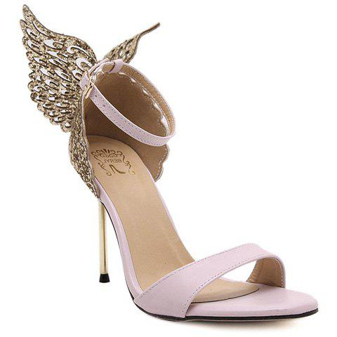 Unique Party Wings and Ankle Strap Design Sandals For Women PINK 38