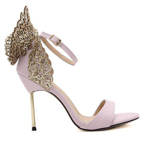 Shops Party Wings and Ankle Strap Design Sandals For Women - 36 PINK Mobile