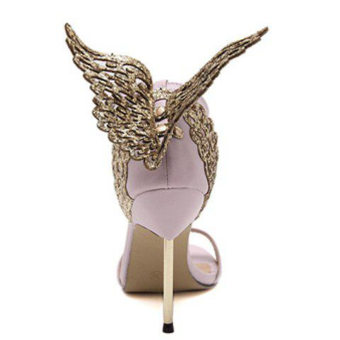 Sale Party Wings and Ankle Strap Design Sandals For Women - 36 PINK Mobile