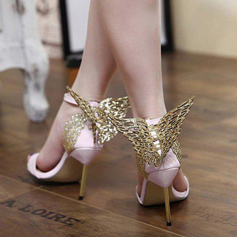 Unique Party Wings and Ankle Strap Design Sandals For Women - 36 PINK Mobile
