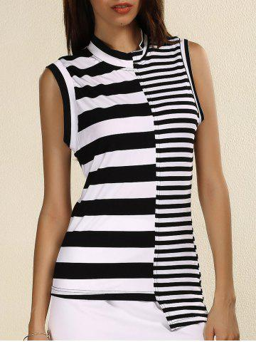 Discount Stylish Stand Collar Sleeveless Striped Sheath T-Shirt For Women WHITE AND BLACK 3XL