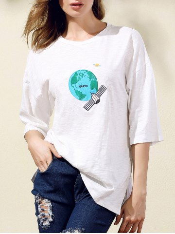 Shop Stylish Round Neck 3/4 Sleeve Earth Embroidery Women's T-Shirt