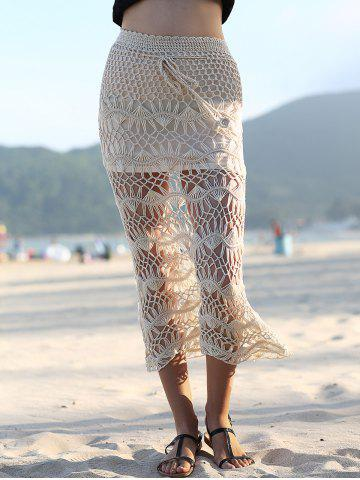 New Stylish High Waist Solid Color Cut Out Crochet Women's Cover Up Skirt