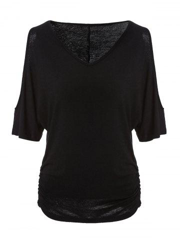 Chic Trendy V-Neck Half Sleeve Cut Out Pure Color Women's T-Shirt BLACK 2XL