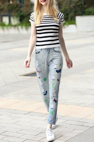 Unique Striped Sheath T-Shirt and Embroidered Jeans Suit