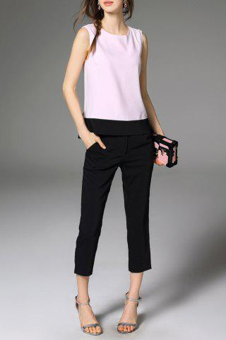 Trendy Bowknot Hit Color Tank Top and Solid Color Pants