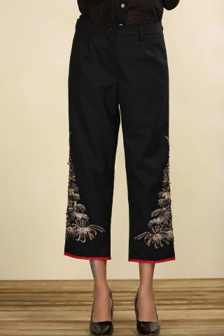 Fancy Black Embroidered Beading Straight Pants