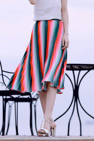 Fashion Pleated Watermelon Striped Skirt