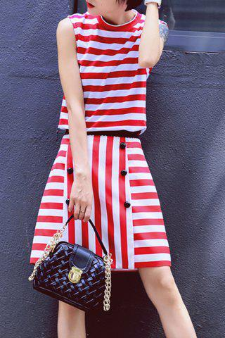 Outfits Fitting Striped Tank Top and Stripe Pencil Skirt