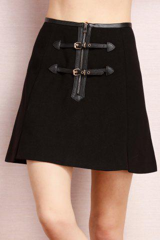 Hot PU Leather Spliced Slit Skirt