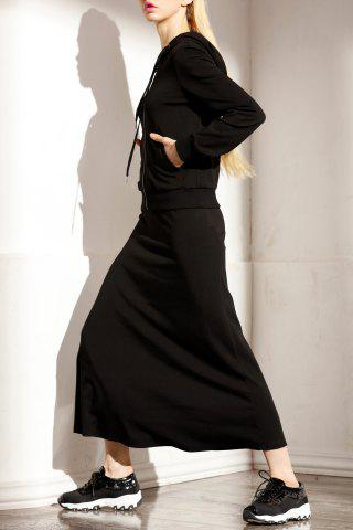 Shop Hooded T-Shirt and Solid Color Skirt Twinset