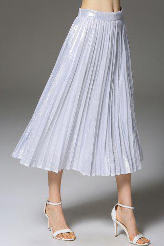 A-Line Solid Color Pleated Skirt - Silver - S