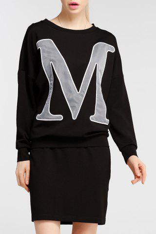 New Letter Print Sweatshirt and Skirt Twinset