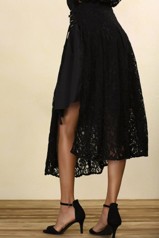 Discount Black Lace Midi Skirt