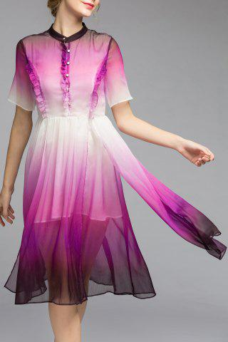 Trendy Layered Single-Breasted Ombre Dress