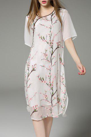 New Flower Embroidered Short Sleeve Midi Dress