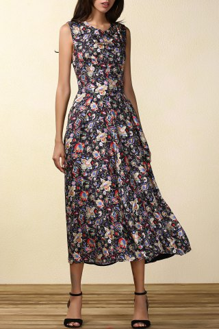Fashion Printed Fit and Flare Midi Dress