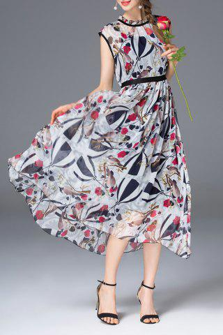 New High Waist Rose Print Dress