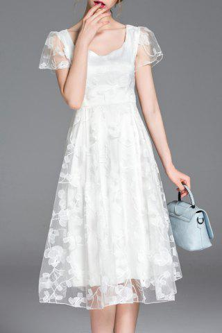 Best Scoop Neck Short Sleeve Floral Embroidery Dress