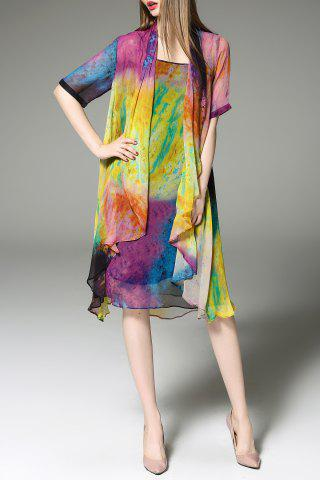 Cheap Scoop Neck Colorful Sundress and Cardigan Twinset