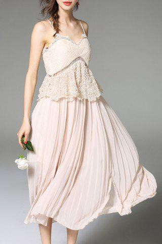 New Cami Solid Color Lace Spliced Dress