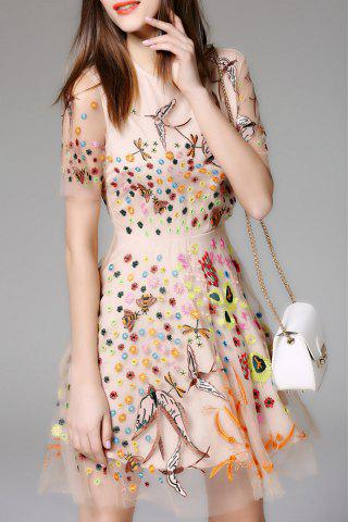 Outfits Embroidered Mesh Sheer Flare Dress