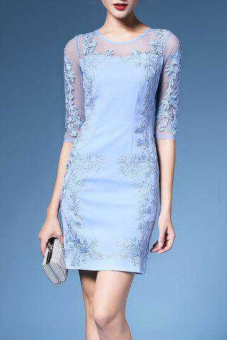 Fashion Embroidered 1/2 Sleeve Mesh Dress For Women