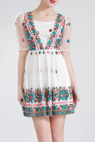 Latest Flower Embroidered Pleated Dress